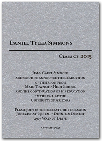 Classic Graduation Invitations and Announcements  on Shimmery Paper with Matching Envelopes - Available in several colors from TheInvitationShop.com