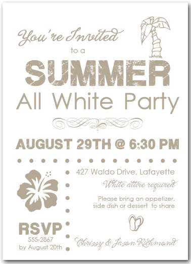 Summer White Party Summer Party Invitations