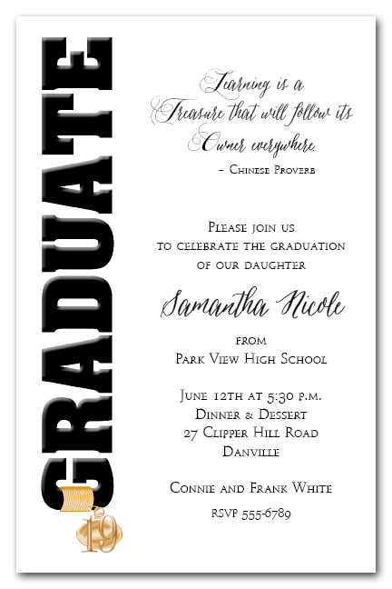 Tassel Charm Black Graduate Invitations and Announcements - Available in several colors | TheInvitationShop.com