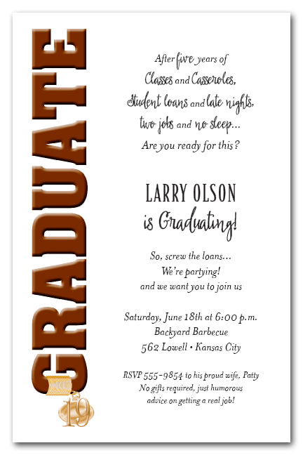 Tassel Charm Brown Graduate Invitations and Announcements - Available in several colors | TheInvitationShop.com