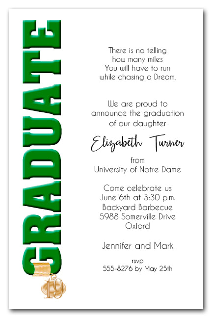 Tassel Charm Green Graduate Invitations and Announcements - Available in several colors | TheInvitationShop.com