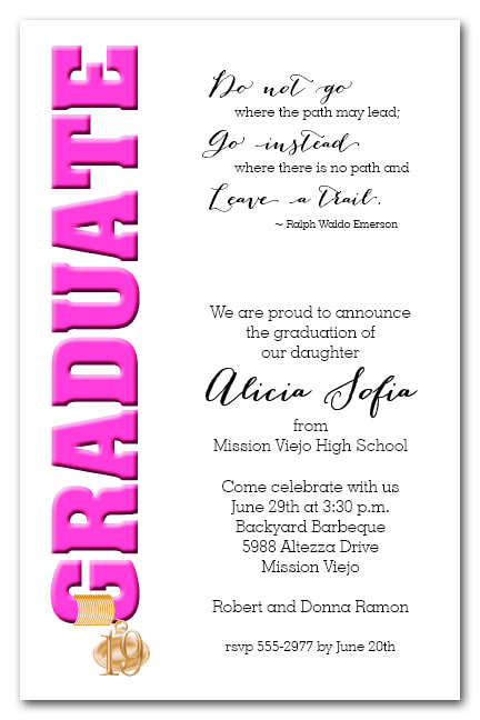 Tassel Charm Hot Pink Graduate Invitations and Announcements - Available in several colors | TheInvitationShop.com