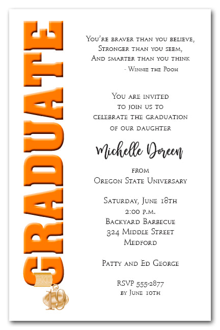 Tassel Charm Orange Graduate Invitations and Announcements - Available in several colors | TheInvitationShop.com