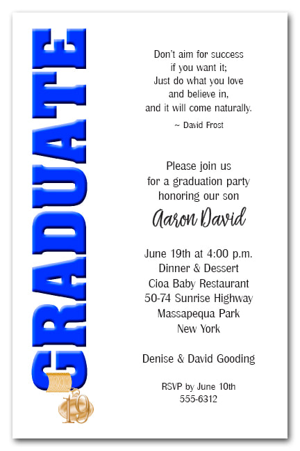 Tassel Charm Blue Graduate Invitations and Announcements - Available in several colors | TheInvitationShop.com