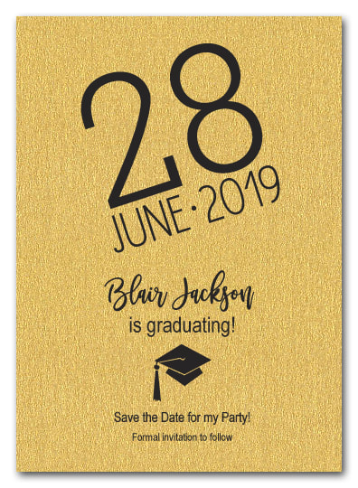 Shimmery Gold Modern Graduation Save the Date Cards - LOTS OF SHIMMERY PAPER COLORS AVAILABLE!