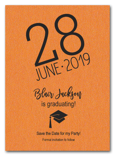 Shimmery Orange Modern Graduation Save the Date Cards - LOTS OF SHIMMERY PAPER COLORS AVAILABLE!