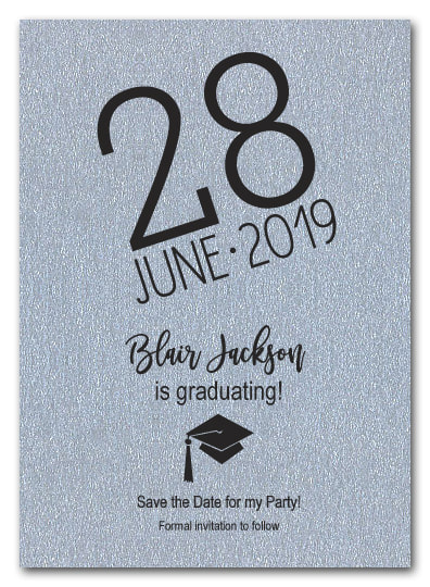 Shimmery Silver Modern Graduation Save the Date Cards - LOTS OF SHIMMERY PAPER COLORS AVAILABLE!