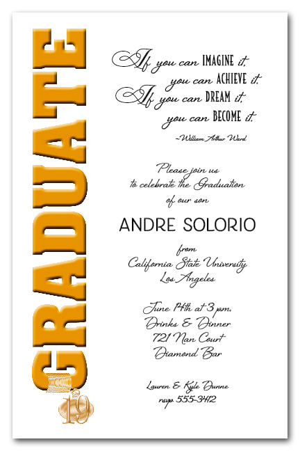 Tassel Charm Gold Graduate Invitations and Announcements - Available in several colors | TheInvitationShop.com