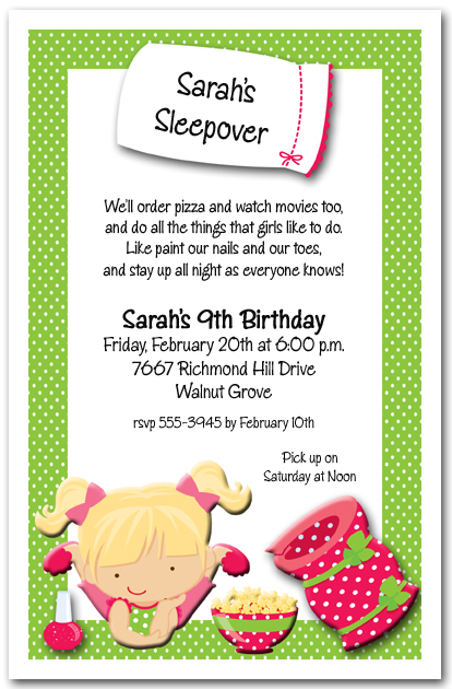 Sleepover Party Invitations Kids Sleepover Birthday Invitations