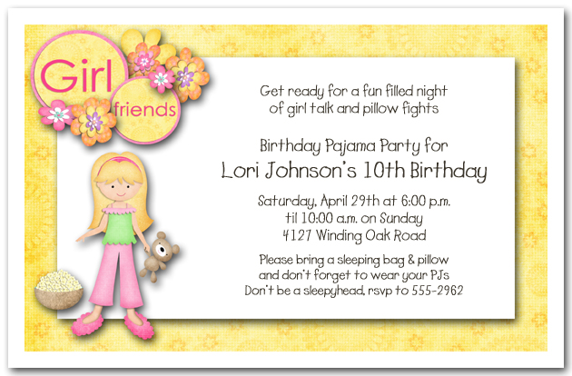 Sleepover Party Invitations – Sleepover Birthday Party Invitations