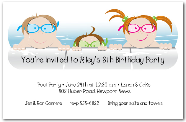 Shop Kids Pool & Beach Party Invitations at TheInvitationShop.com