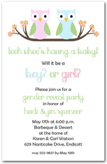 Owl Gender Reveal Baby Shower Invitations from TheInvitationShop.com
