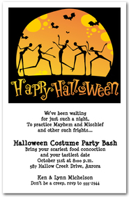 Moonlight Skeleton Dance Halloween Invitations from TheInvitationShop.com