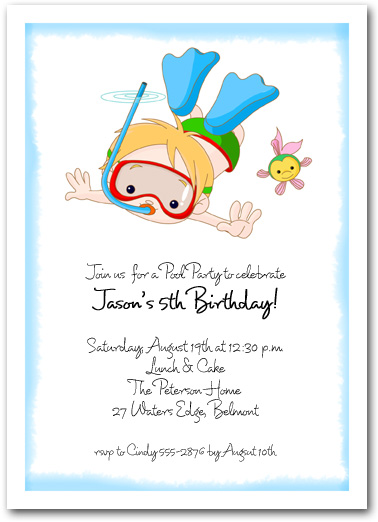 Snorkeling Boy Beach and Pool Invitations