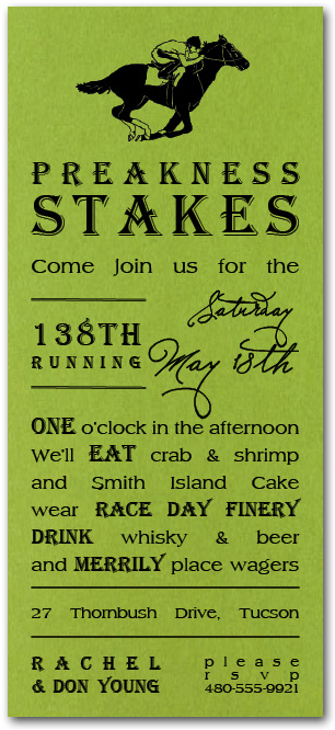 Preakness Stakes Shimmery Green Party Invitations plus traditions, history, food and cocktails recipes from TheInvitationShop.com