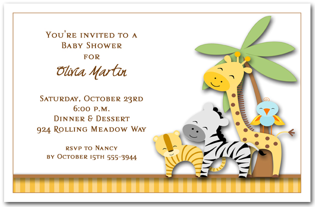 Jungle Pals Baby Shower Invitations