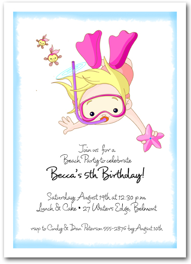 Snorkeling Girl Beach and Pool Invitations