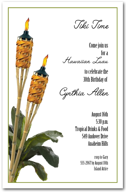 Tropical Tiki Torches Summer Party Invitations