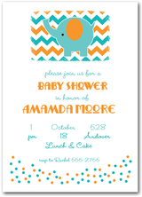 Teal Elephant on Chevron Baby Shower Invitations from TheInvitationShop.com