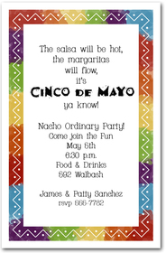 Zigzag Mexican Fiesta Party Invitations - great for Cinco de Mayo Party - from TheInvitationShop.com
