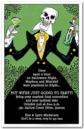 Elegant Skeleton Halloween Party Invitations from TheInvitationShop.com
