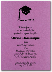 Grad Hat Graduation Invitations and Announcements  on Shimmery Paper with Matching Envelopes - Available in several colors from TheInvitationShop.com