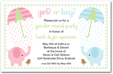 Elephant Gender Reveal Baby Shower Invitations from TheInvitationShop.com