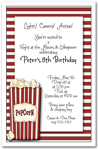 Popcorn on Stripes Party Invitations from TheInvitationShop.com
