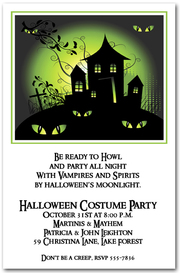 Green Haze Haunted House Halloween Invitations from TheInvitationShop.com