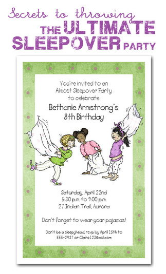 Idea And Kids With Special Dietary Needs >> Sleepover Party Invitations | Kids Sleepover Birthday