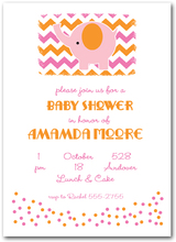 Pink Elephant on Chevron Baby Shower Invitations from TheInvitationShop.com