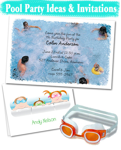 Kids Pool Party Invitations and Party Planning Ideas from TheInvitationShop.com