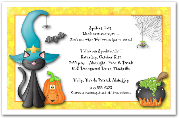Teal Hat Black Cat Halloween Invitations from TheInvitationShop.com