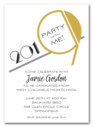 Gold 2019 Graduation Party Invitation or Announcement - Also available as a Save the Date Card. LOTS OF COLORS available