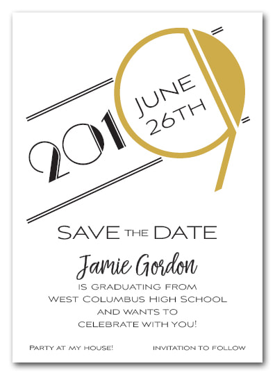 Gold 2019 Graduation Save the Date Cards - Also available as a graduation party invitation or announcement! LOTS OF COLORS available