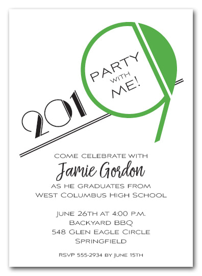 Green 2019 Graduation Party Invitation or Announcement - Also available as a Save the Date Card. LOTS OF COLORS available