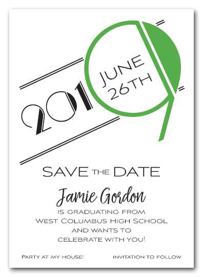 Green 2019 Graduation Save the Date Cards - Also available as a graduation party invitation or announcement! LOTS OF COLORS available