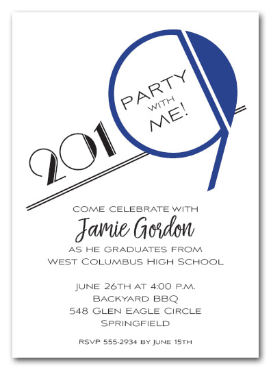 Blue 2019 Graduation Party Invitation or Announcement - Also available as a Save the Date Card. LOTS OF COLORS available