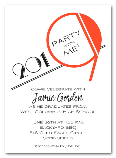 Orange 2019 Graduation Party Invitation or Announcement - Also available as a Save the Date Card. LOTS OF COLORS available