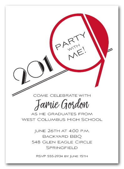 Red 2019 Graduation Party Invitation or Announcement - Also available as a Save the Date Card. LOTS OF COLORS available