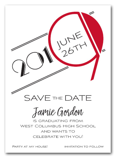 Red 2019 Graduation Save the Date Cards - Also available as a graduation party invitation or announcement! LOTS OF COLORS available