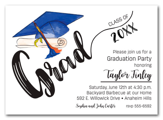 Blue & Orange Tassel on Black Cap Graduation Party Invitations or Announcements for high school, college or middle school graduation party invitations
