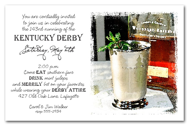 Bourbon Mint Juleps Kentucky Derby Party Invitations from TheInvitationShop.com