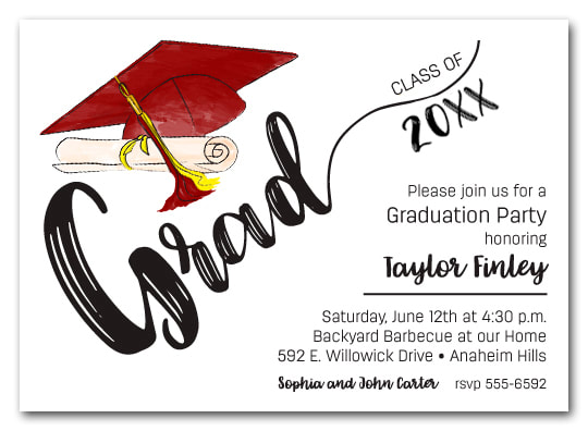 Burgundy & Yellow Tassel on Black Cap Graduation Party Invitations or Announcements for high school, college or middle school graduation party invitations