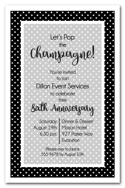 Black and White Dots Business Party Invitations - use for anniversary, new hire, cocktail party, retirement party and more. LOTS OF POLKA DOT COLORS AVAILABLE! Use any wording on this invitation.