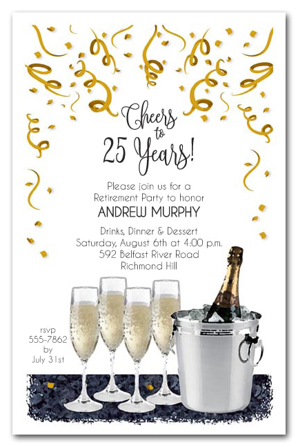 Retirement Party Invitations - We love this champagne theme retirement party invitation, but we have lots of themes available your guest of honor will love.
