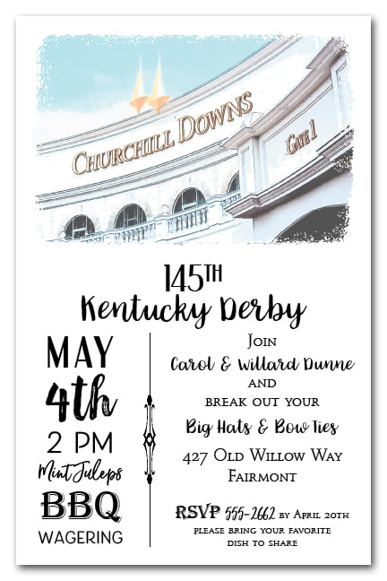 Churchill Downs Gate 1 Kentucky Derby Party Invitations from TheInvitationShop.com