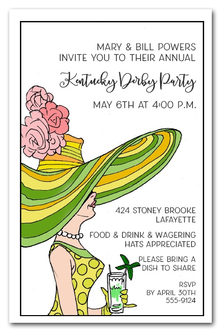 Derby Day Lady Kentucky Derby Party Invitations from TheInvitationShop.com