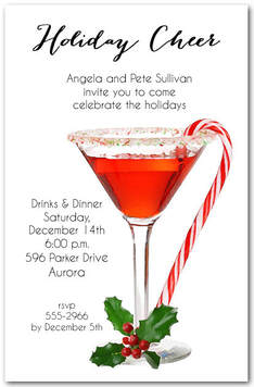 Candy Cane Martini Holiday Invitations