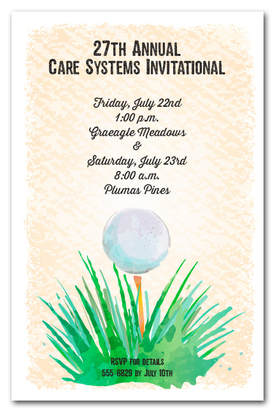 Watercolor Golf Ball Invitations | Come see all our golf themed party invitations